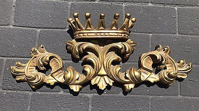 "Vintage Cast Gold Crown Wall Pediment 27"" x 10.75"""