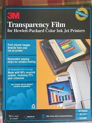 3M Transparency Film for HP Hewlett-Packard Color Ink Jet Printers 39 New Sheets