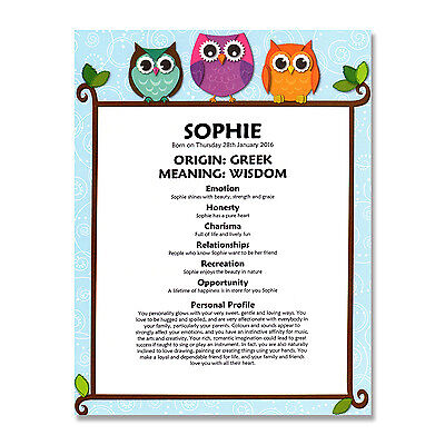 FIRST NAME MEANING PRINT Personalised Birthday Christening Baby Nursery Gift