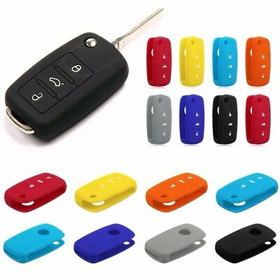 New Silicone Key Fob Cover for Volkswagen VW 3 Button Remote Flip Folding case