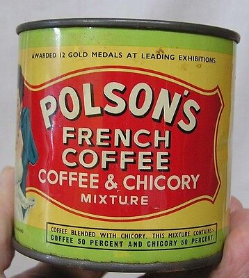 Vintage Can Polsons French Coffee FULL 200 Grams Man Woman Graphics