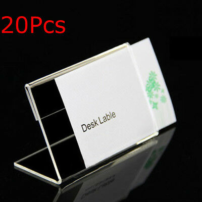 20Pcs 9cmx6cm Acrylic Sign Display Label Price Name Card Tag Holder Stands