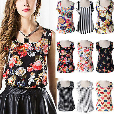 Sexy Womens Casual Chiffon Floral Printed Tank Vest Sleeveless Shirt Tops Blouse