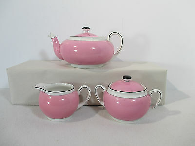 Antique Noritake Morimura Teapot Creamer Sugar Art Deco Pink Black White Nippon
