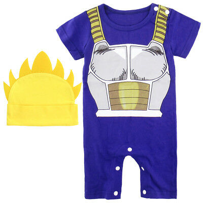 Baby Boys Dragon Ball Z Vegeta Romper Costume Newborn Bodysuit Outfits with Hat