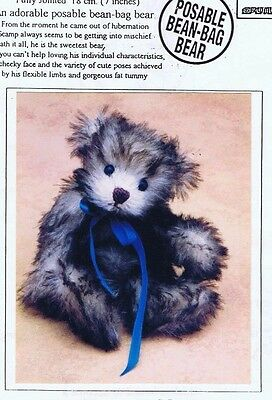 Bear Making Sewing PATTERN Jointed, SCAMP 18 cm 7 inch, Posable Bean Bag Style