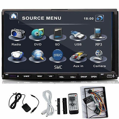 """7"""" Double 2 Din In Dash Touch Car Stereo DVD Player Radio GPS SAT NAV"""