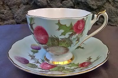 Queen Anne Aqua /Blue Scottish Thistle Tea Cup & Saucer Set