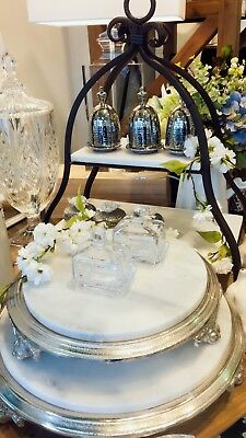Small White Marble Round Cake Stand