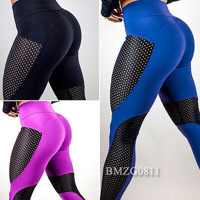 Damen Sporthose Leggings Tights Stretch Laufhose Hollow Out Fitnesshose Yoga Gym