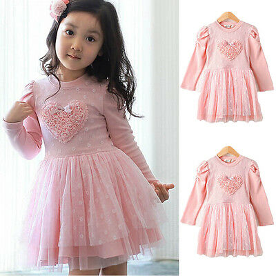 Flower Girls Princess Dress Kids Baby Party Wedding Pageant Long Sleeve Dresses