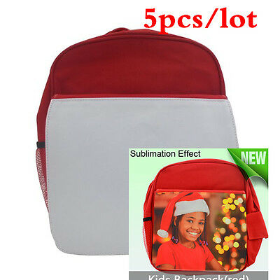 5pcs/lot-- Red Blank Sublimation Backpack with Heat Transfer Flap for Kids