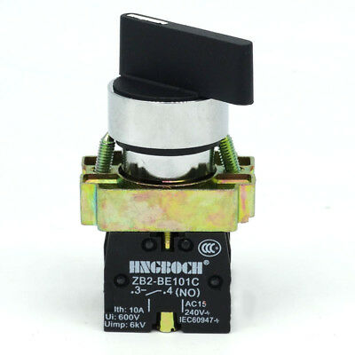 1PCS 22MM On/Off/On Rotary Switch 3 Positions 2NO Black Panel Mounting