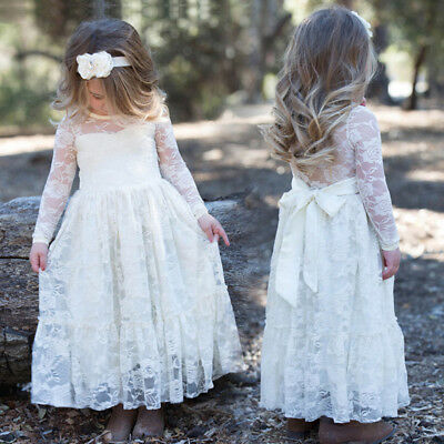 Floral Lace Flower Girl Pageant Birthday Party Princess Bridesmaid Wedding Dress