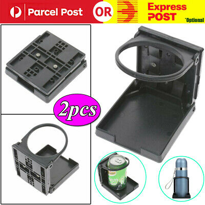 2 x BLACK ADJUSTABLE FOLDING DRINK CUP HOLDERS UNIVERSAL CAR TRUCK BOAT VAN AU