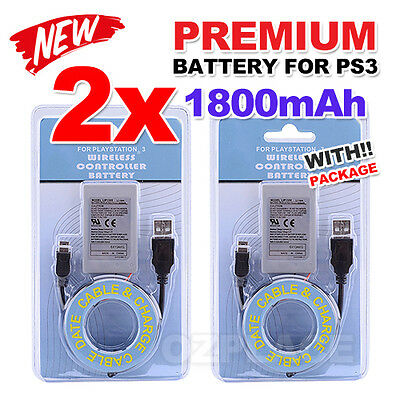 2x for PS3 Wireless Controller Battery Playstation 3 Li-ion Battery 4.2V 1800mAh