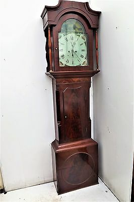 Grandfather Clock 8 day arched Painted face dial mahogany cased