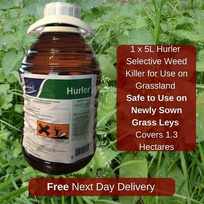 5L Hurler Paddock Weed Killer Safe To New Grass Covers Upto 66000M2