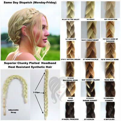 Thick Chunky Plaited Hair Band Braided Headband With Clips (H1)