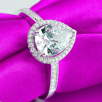 Fine Rings 1.50ct Pear-cut Delicated Diamond Halo Engagement Ring 14k White Gold Over