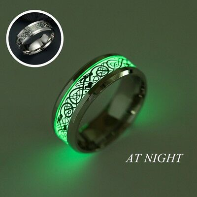 New Jewelry Glow In The Dark Stainless Steel Dragon Pattern Luminous Band Ring