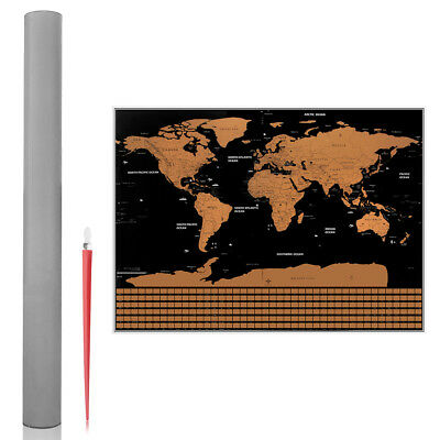 Scratch Map Poster with US States and Country Flags Perfect for Adverture