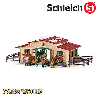 SCHLEICH FARM WORLD - Horse Stable Riding Centre Horses and Accessories - 42195