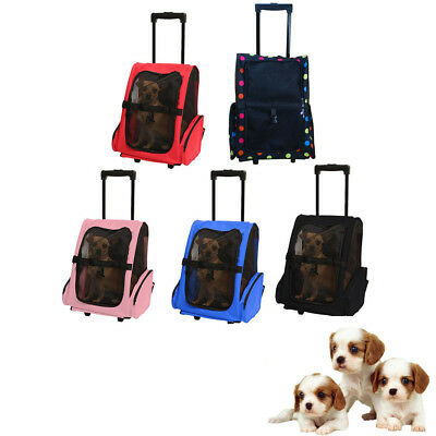 Dual Purposes Rolling Wheels Backpack Travel Pet Oxford Bag Case Carrier 5 Color