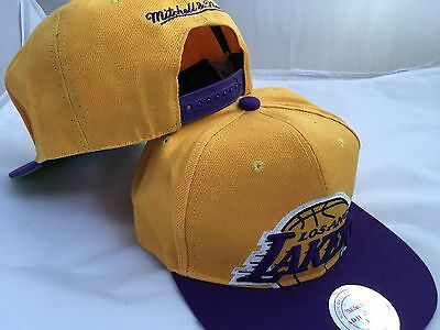 La Lakers Mitchell and Ness NBA SnapBack Baseball Cap - Gold/Purple