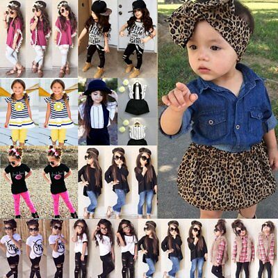 3PCS Toddler Kids Baby Girls Clothes T-shirt Tops+Pants/Jeans/Shorts Outfits Set