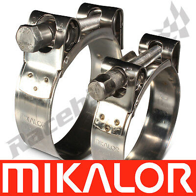 2 x Mikalor Stainless Steel Coolant//Exhaust Clamps//Clips SupraPro 51mm 55mm