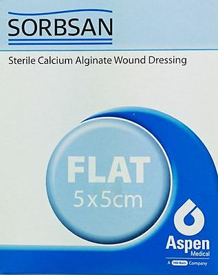 Sorbsan Flat Wound Dressing, 5cm x 5cm, Pack of 10