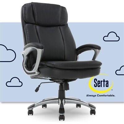 Serta Office Chair Big and Tall Executive Manager in Puresoft Black Faux Leather
