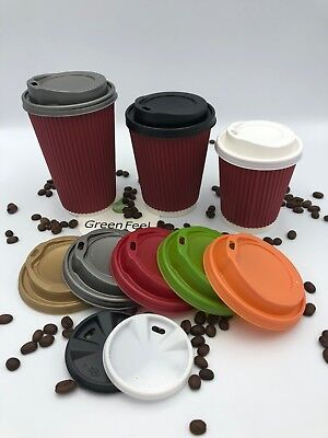 8/12/16oz Insulated RED Ripple Wall Disposable Paper Coffee Cups Sip Lids x 500