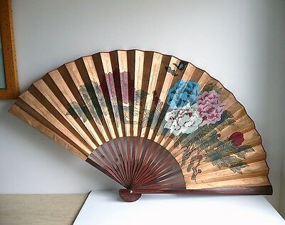 Vintage Chinese Hand Painted Flowers Paper Folding Fan HUGE