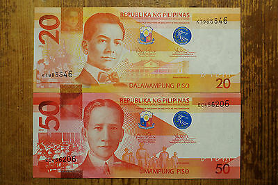 Philippines set of 2 different 20 Piso and 50 Piso  AU-Unc. 2010-14