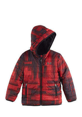 Boys Size 4T Under Armour Red & Black Fall & Winter Reversible Jacket Coat Nwt