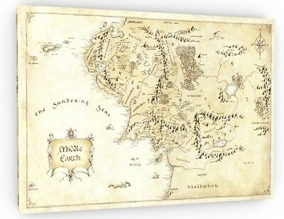 Middle earth map print vintage style map by considergraphics hobbit lotr middle earth map canvas picture print wall art chunky frame large 832 2 publicscrutiny Choice Image