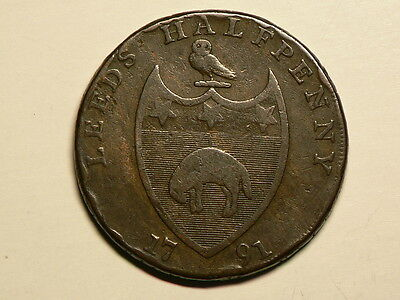 Great Britain 1791  Leads Halfpenny Condor Token 30mm #G6534