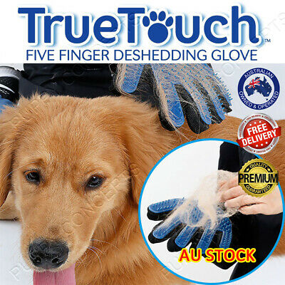 True Touch Deshedding Brush Glove Pet Dog Cat Massage Grooming Wash Hair Removal