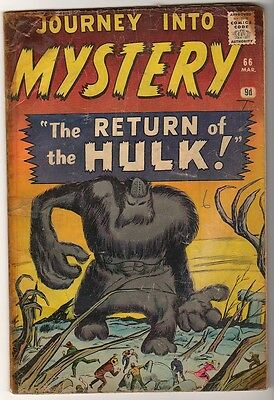 Marvel Comics  G+/VG- PRE THOR #66 Journey into mystery PROTO TYPE HULK