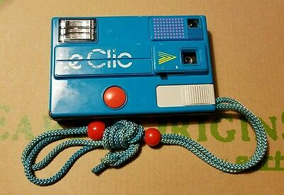 Vintage Le Clic disk camera 80's retro blue with bag