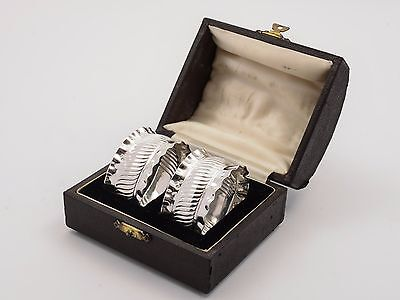 Cased Pair of Victorian Silver Napkin Rings, 1891