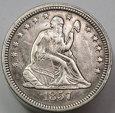1857-P Seated Liberty Quarter Dollar Silver 25c US Coin Item #13927