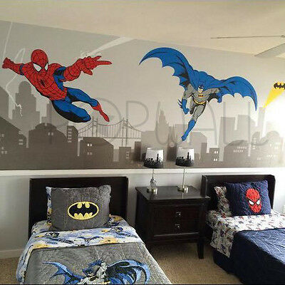 Batman and Spiderman Super Hero Themed Room- Avengers Wall sticker for Kids Room