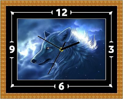 Fantasy Wolf Wall Clock Gift Present Christmas Birthday (Can Be Personalised)