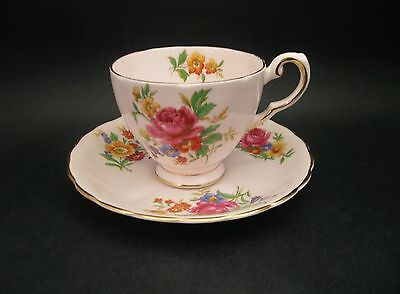 Plant Tuscan Vintage China Demitasse Cup Saucer Pink Roses Floral c1930s 7248H
