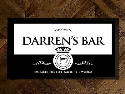 Personalised Welcome Black & White Beer Wine label bar runner bar mat pubs