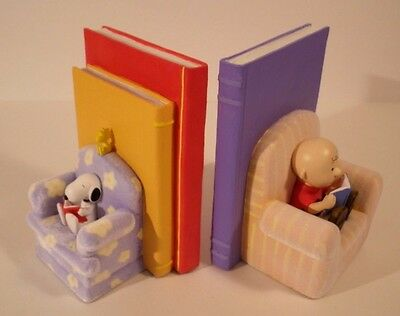 "NIB 2002 Hallmark Peanuts Limited ""By The Book"" Bookends Snoopy Charlie Brown"