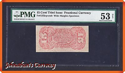 JC&C - Fr.1272sp Fractional Currency Specimen 15 Cents 3rd Issue - PMG AU 53 NET